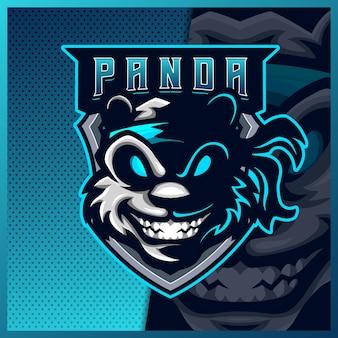 Projekt logo maskotki e-sportowej i sportowej dzikiej pandy