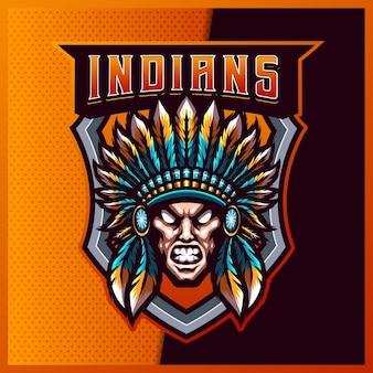 Projekt logo maskotki e-sportowej i sportowej indian chief z nowoczesną ilustracją. ilustracja apache