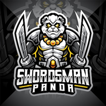 Projekt logo maskotki e-sportowej pandy szermierza
