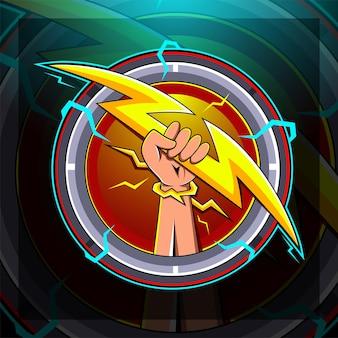 Projekt logo maskotki e-sportu dłoni zeusa