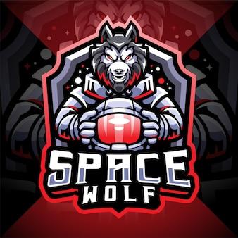 Projekt logo maskotki e-sportu kosmicznego wilka
