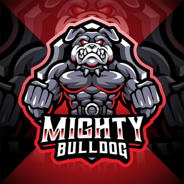 Projekt logo maskotki e-sportu potężnego buldoga