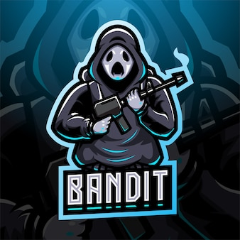 Projekt logo maskotki esport bandyta