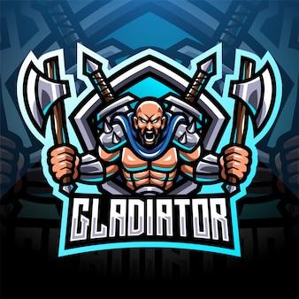 Projekt logo maskotki esport gladiatora