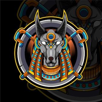 Projekt logo maskotki esport głowy anubisa