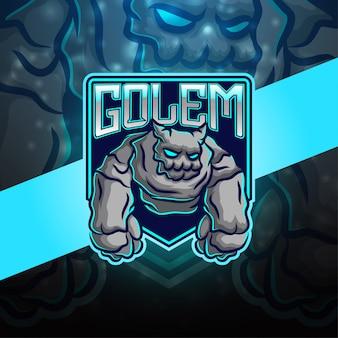 Projekt logo maskotki esport golem