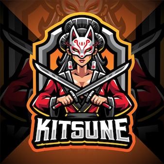 Projekt logo maskotki esport kitsune girl