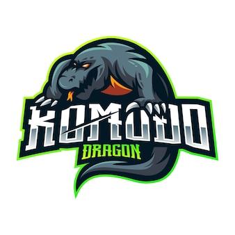 Projekt logo maskotki esport komodo dragon