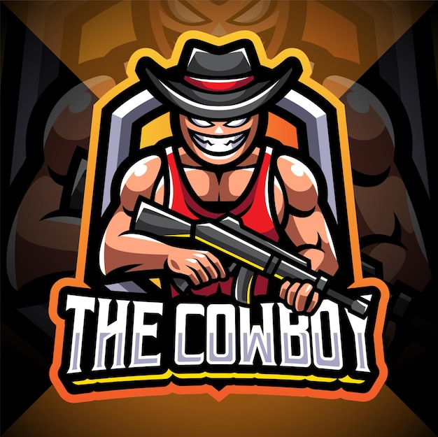 Projekt logo maskotki esport kowboja strzelca