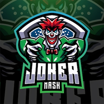 Projekt logo maskotki esport maski jokera