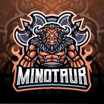 Projekt logo maskotki esport minotaur