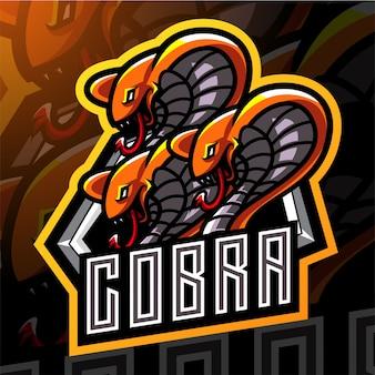 Projekt logo maskotki esport z głową króla kobry