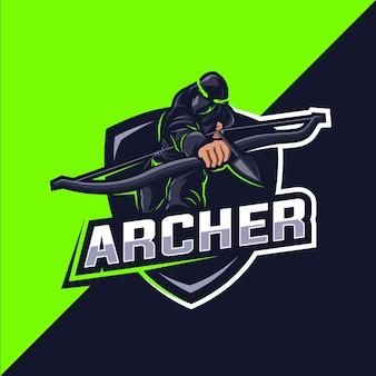 Projekt logo maskotki esport zielony łucznik