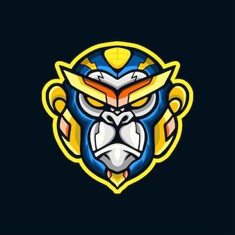 Projekt logo maskotki głowy robota małpy
