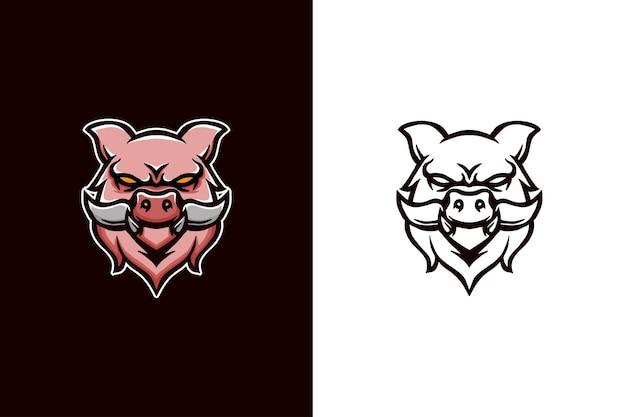 Projekt logo maskotki głowy świni