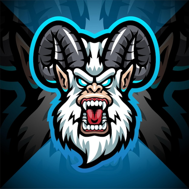 Projekt logo maskotki głowy yeti esport