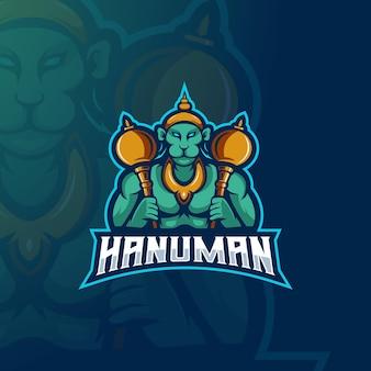 Projekt logo maskotki hanuman ilustracja boga małpy dla zespołu graczy e-sportowych