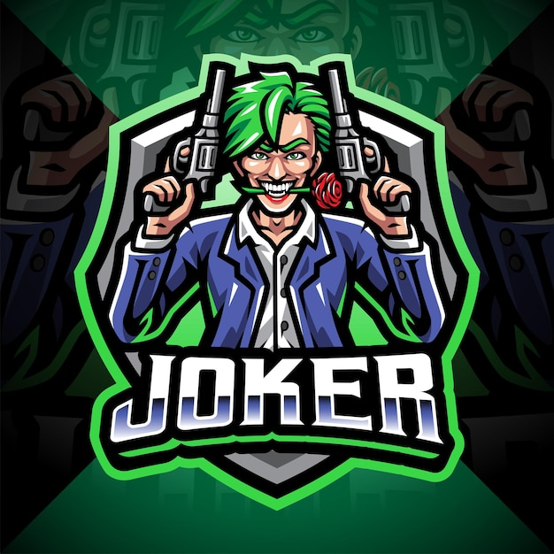 Projekt logo maskotki joker gunner esport