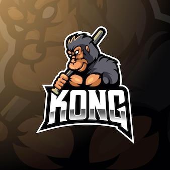 Projekt logo maskotki kong z nowoczesnym stylem ilustracji dla odznaki, godła.