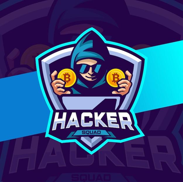 Projekt logo maskotki kryptowaluty hakera dla e-sportu i logo zespołu