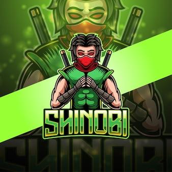 Projekt logo maskotki ninja e-sport ninja