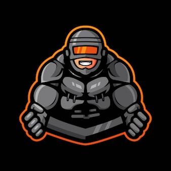 Projekt logo maskotki robota bohatera z nowoczesnym stylem ilustracji dla odznaki, godła.