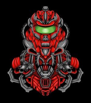 Projekt logo maskotki robota strzelca z nowoczesną ilustracją