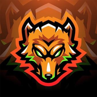 Projekt logo maskotki sportowej głowy lisa