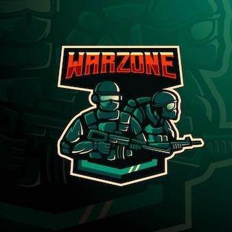 Projekt logo maskotki warzone z nowoczesnym stylem ilustracji dla odznaki, godła