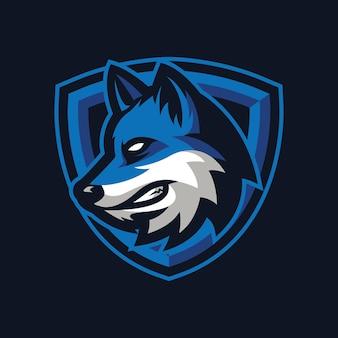 Projekt logo maskotki wilka dla sportu lub e-sportu