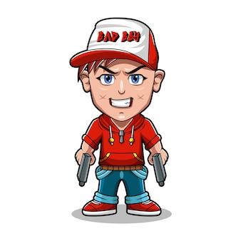 Projekt logo maskotki złego chłopca