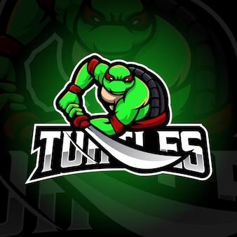 Projekt logo maskotki żółwia żółwie ilustracja dla zespołu graczy e-sportowych