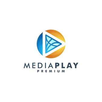 Projekt logo mediów. odtwórz logo wektor ikona