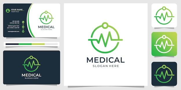 Projekt logo medycznego z kreatywną nowoczesną grafiką liniową i wizytówką