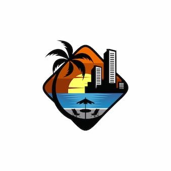 Projekt logo miasta plaży szablon wektor
