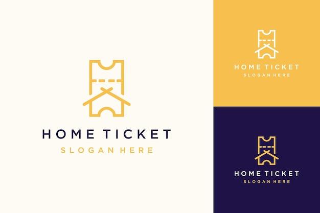Projekt logo miejsca sprzedaży biletów lub biletów z domem
