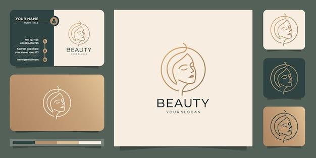 Projekt logo minimalistycznego kobiecego piękna kobiety z wizytówką. uroda, salon i spa, pielęgnacja skóry.