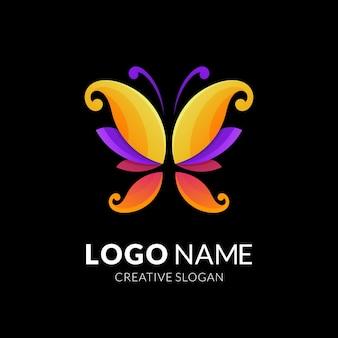 Projekt logo motyla, nowoczesny styl logo w żywych kolorach gradientu