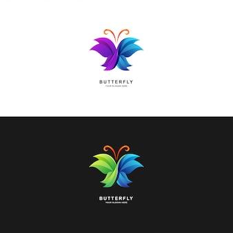 Projekt logo motyla w kolorze gradientu