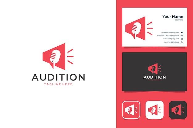Projekt logo muzyki audition i wizytówka