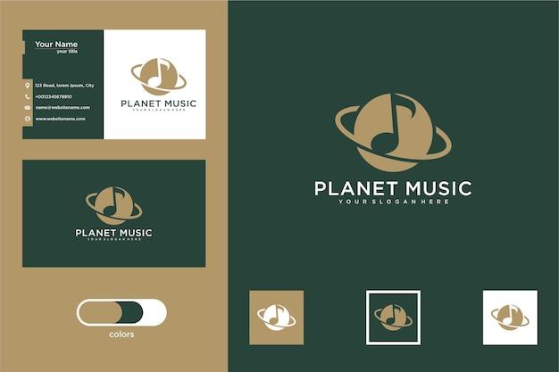 Projekt logo muzyki planety i wizytówka
