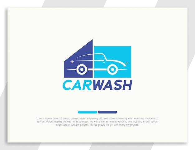 Projekt logo myjni samochodowej z błyszczącym efektem samochodu