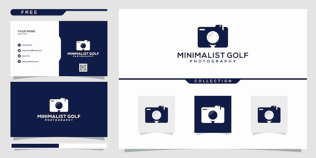 Projekt logo negatywnej przestrzeni aparatu i golfa. projekt logo i wizytówki