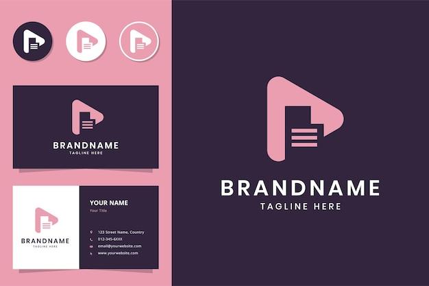 Projekt logo negatywnej przestrzeni dokumentu medialnego