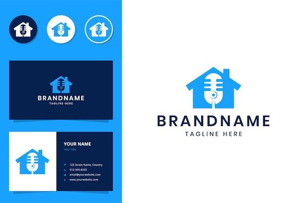 Projekt logo negatywnej przestrzeni domu podcastowego