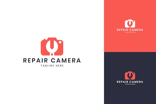 Projekt logo negatywnej przestrzeni kamery klucza