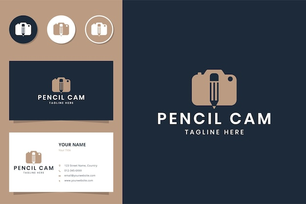 Projekt logo negatywnej przestrzeni kamery ołówkowej