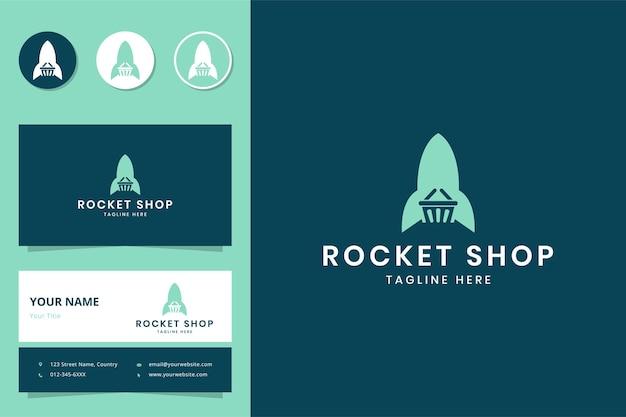 Projekt logo negatywnej przestrzeni na zakupy rakietowe