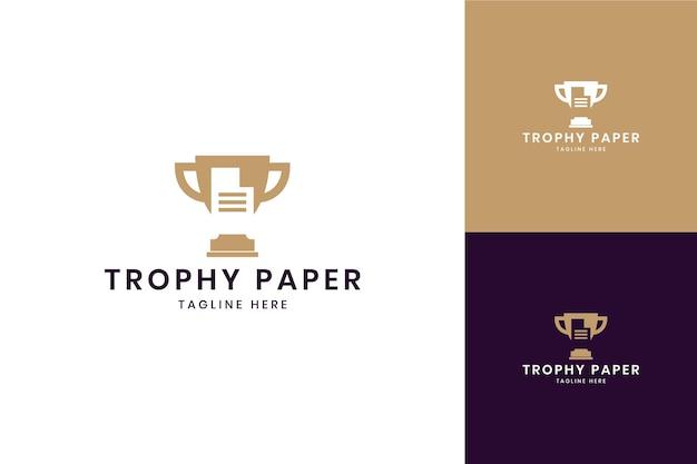 Projekt logo negatywnej przestrzeni papieru trofeum