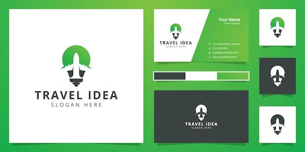 Projekt logo negatywnej przestrzeni podróży pomysł